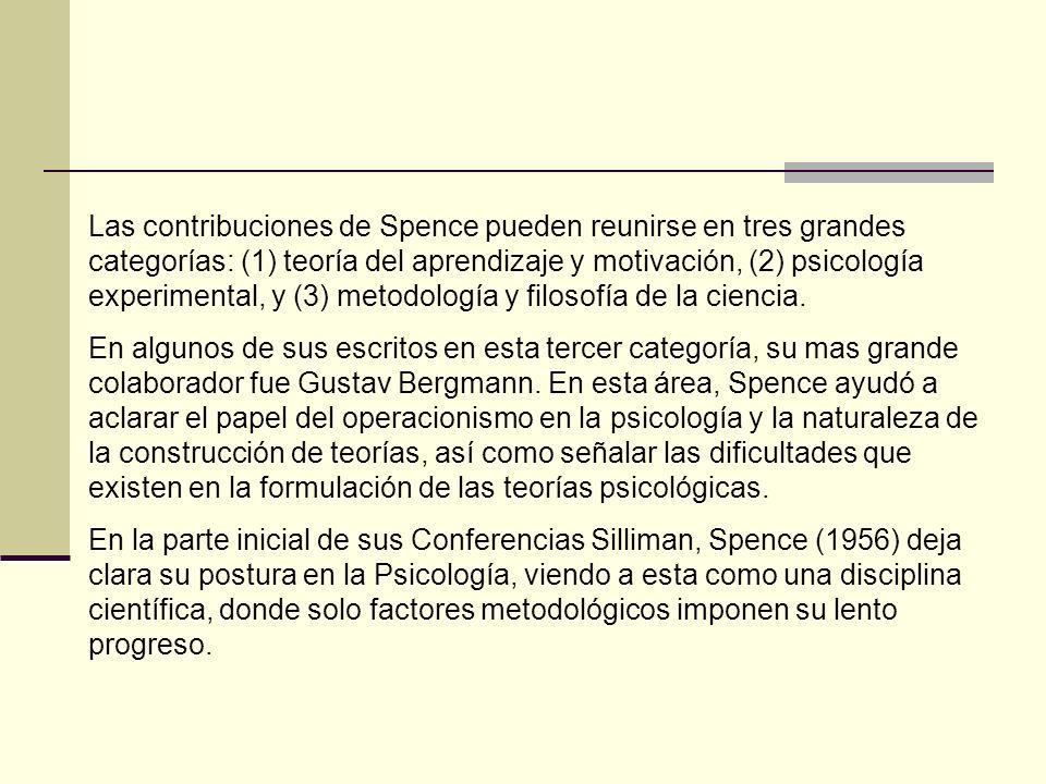 Las contribuciones de Spence a la teoría del aprendizaje, además de su colaboración en el sistema Hull-Spence, fueron de dos tipos.