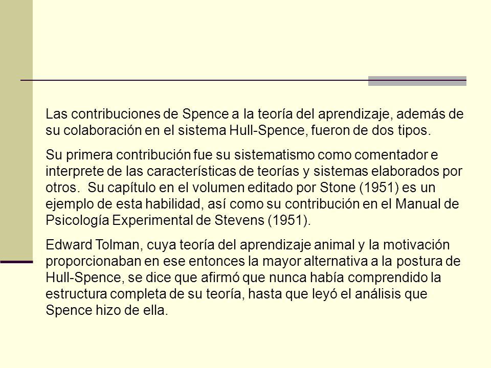 La segunda gran contribución de Spence fue al cuerpo de la teoría, empezando con sus primeros escritos sobre el aprendizaje de la discriminación.