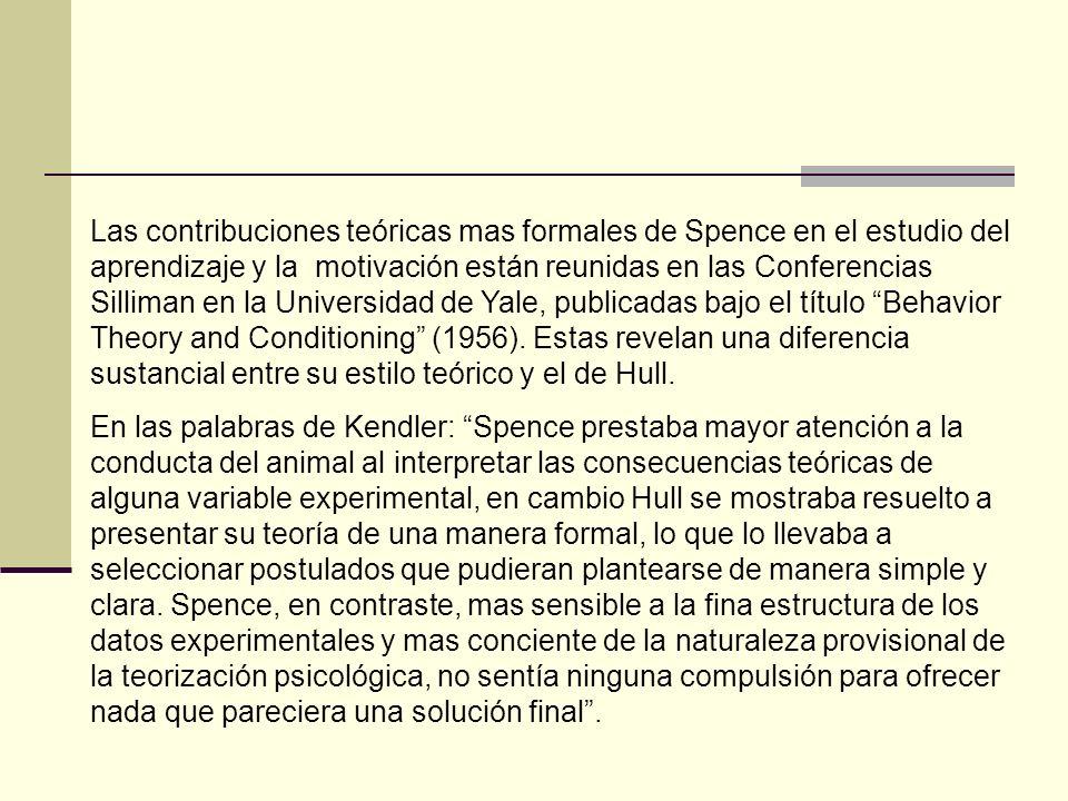 Estas diferencias entre Spence y Hull sobre el pragmatismo de su enfoque se notan de otra manera.