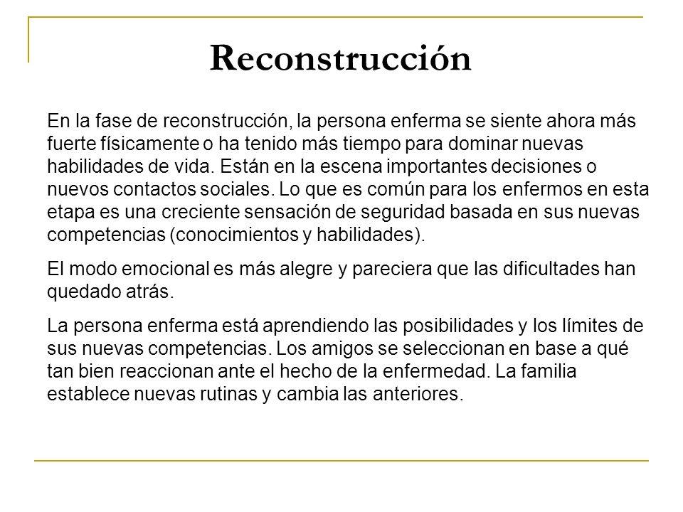 Reconstrucción En la fase de reconstrucción, la persona enferma se siente ahora más fuerte físicamente o ha tenido más tiempo para dominar nuevas habi