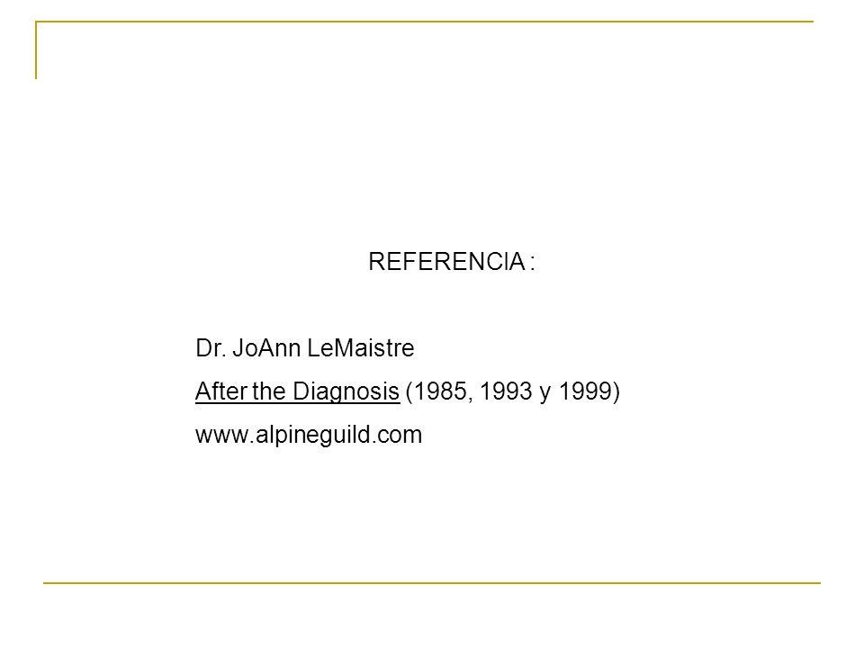 REFERENCIA : Dr. JoAnn LeMaistre After the Diagnosis (1985, 1993 y 1999) www.alpineguild.com