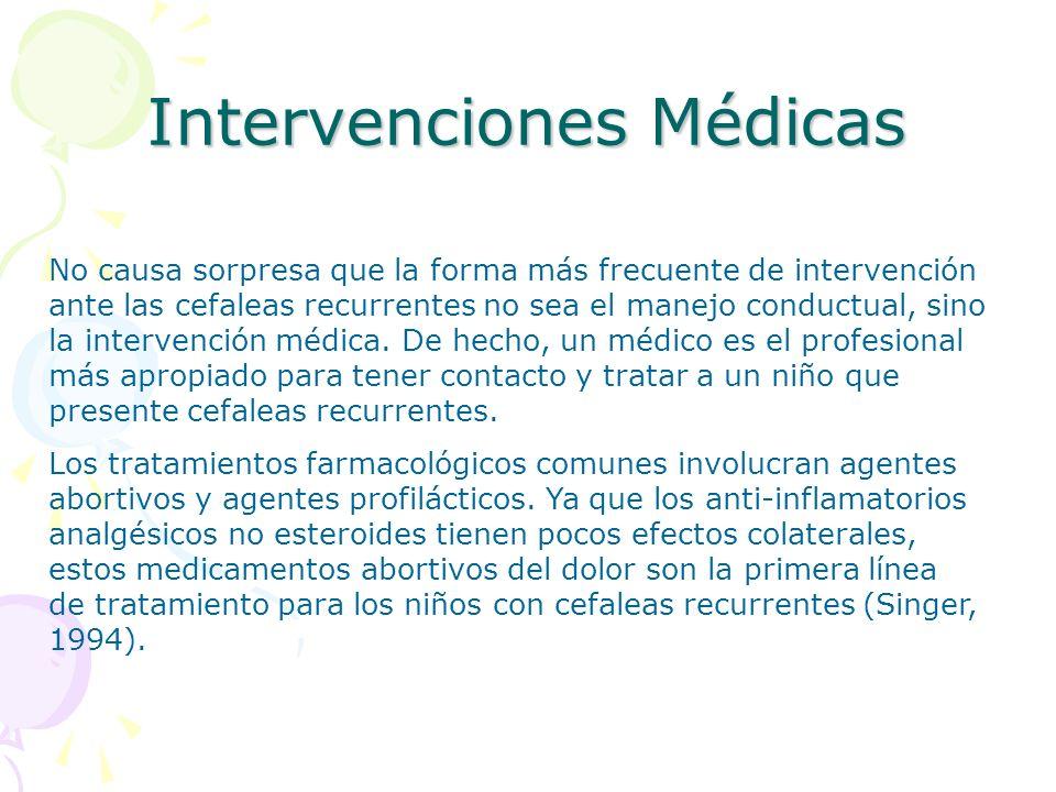 Intervenciones Médicas No causa sorpresa que la forma más frecuente de intervención ante las cefaleas recurrentes no sea el manejo conductual, sino la