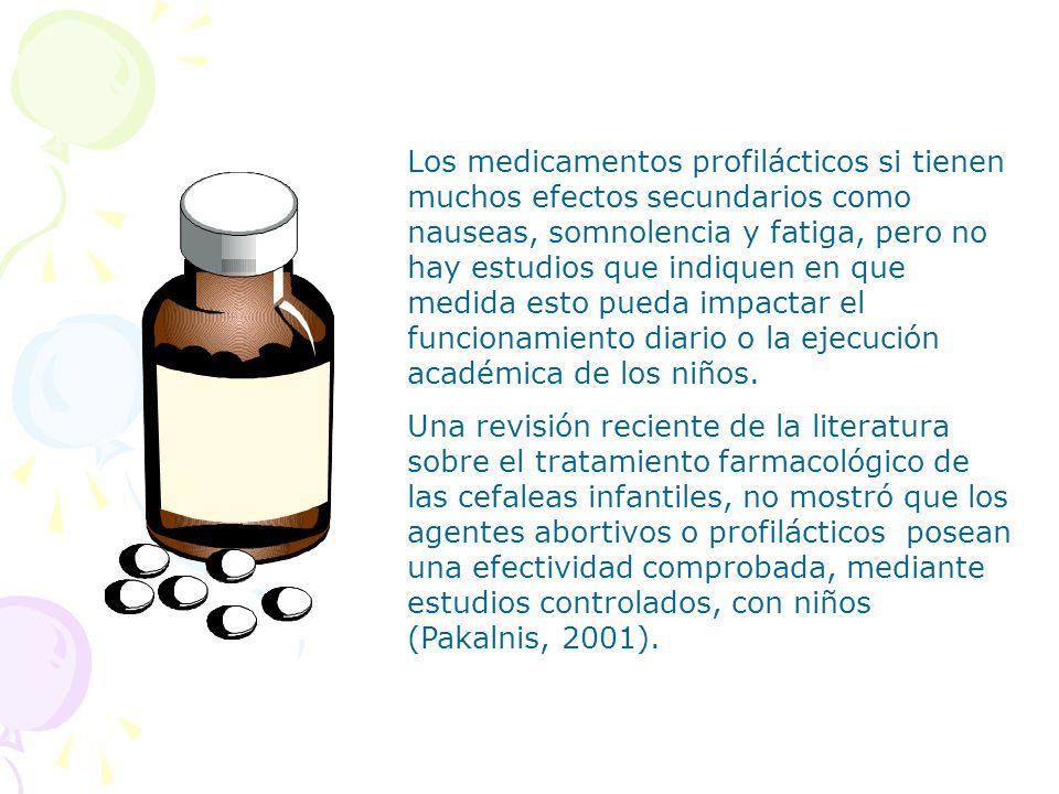 Los medicamentos profilácticos si tienen muchos efectos secundarios como nauseas, somnolencia y fatiga, pero no hay estudios que indiquen en que medid