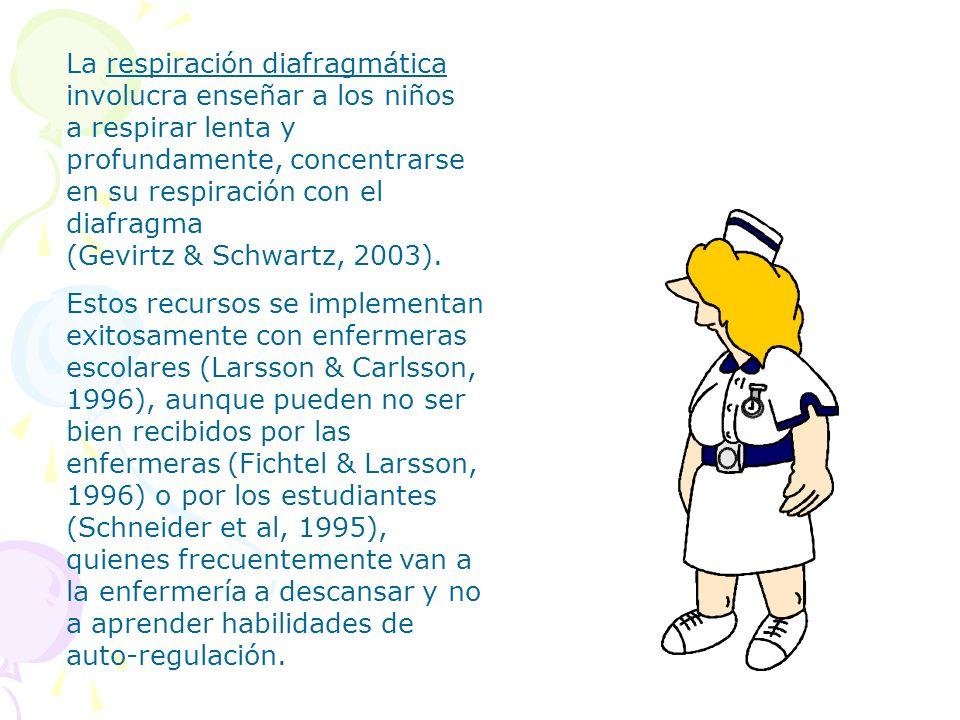 La respiración diafragmática involucra enseñar a los niños a respirar lenta y profundamente, concentrarse en su respiración con el diafragma (Gevirtz