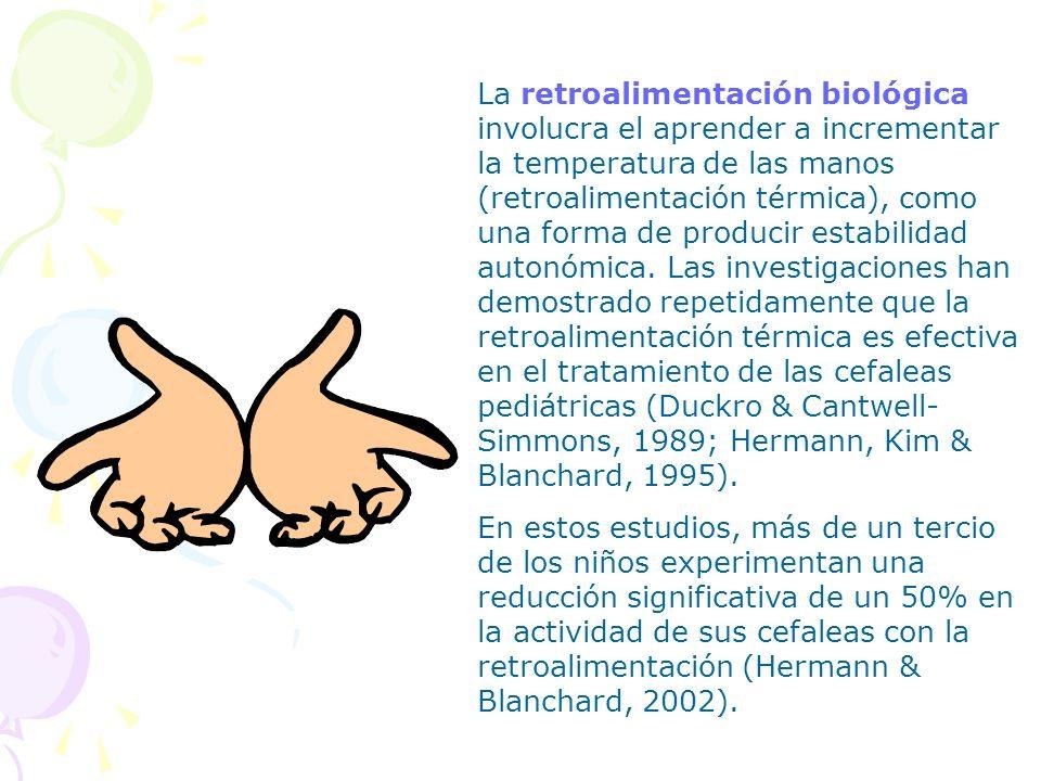 La retroalimentación biológica involucra el aprender a incrementar la temperatura de las manos (retroalimentación térmica), como una forma de producir