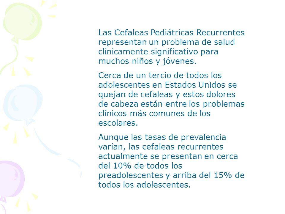 Las Cefaleas Pediátricas Recurrentes representan un problema de salud clínicamente significativo para muchos niños y jóvenes. Cerca de un tercio de to
