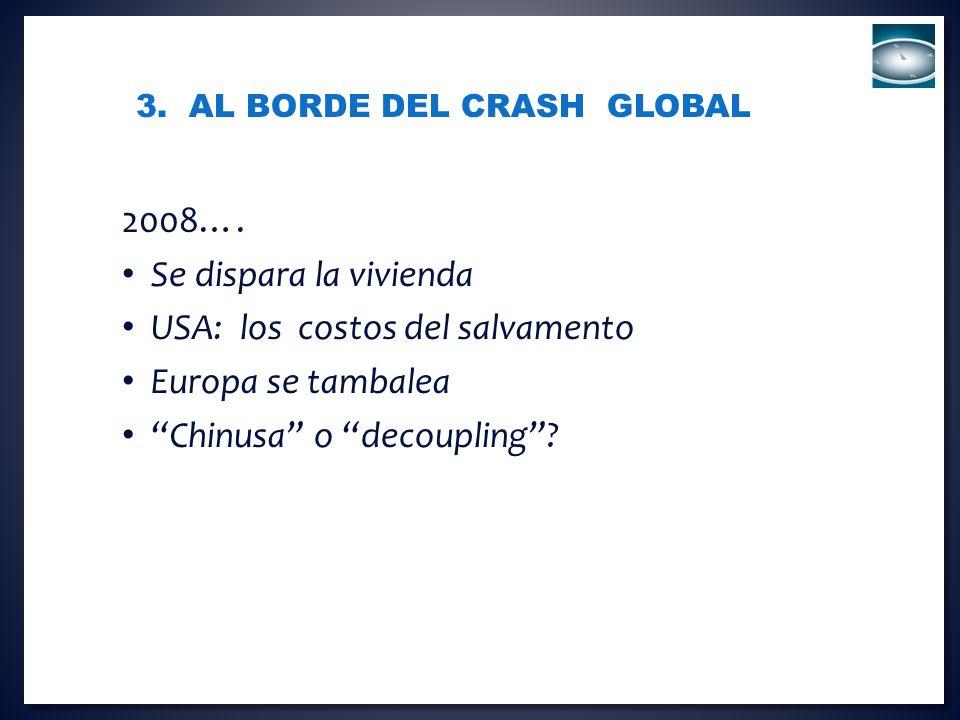 3. AL BORDE DEL CRASH GLOBAL 2008…. Se dispara la vivienda USA: los costos del salvamento Europa se tambalea Chinusa o decoupling?