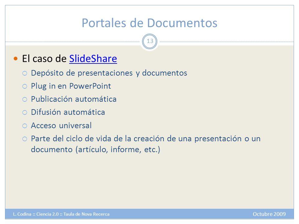 Portales de Documentos El caso de SlideShareSlideShare Depósito de presentaciones y documentos Plug in en PowerPoint Publicación automática Difusión a