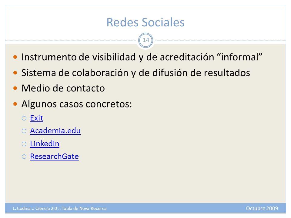 Redes Sociales Instrumento de visibilidad y de acreditación informal Sistema de colaboración y de difusión de resultados Medio de contacto Algunos cas
