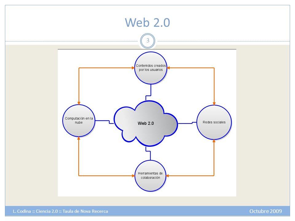 Web 2.0 Octubre 2009 L. Codina :: Ciencia 2.0 :: Taula de Nova Recerca 3