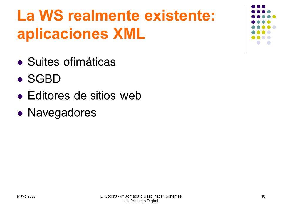 Mayo 2007L. Codina - 4ª Jornada d'Usabilitat en Sistemes d'Informació Digital 18 La WS realmente existente: aplicaciones XML Suites ofimáticas SGBD Ed