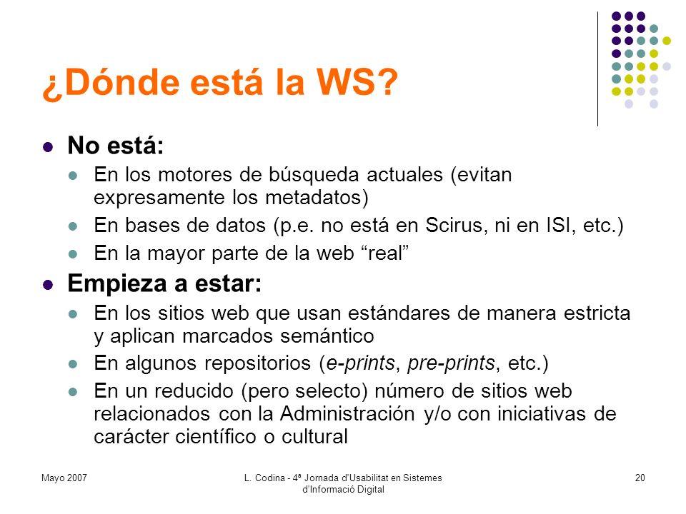 Mayo 2007L. Codina - 4ª Jornada d'Usabilitat en Sistemes d'Informació Digital 20 ¿Dónde está la WS? No está: En los motores de búsqueda actuales (evit