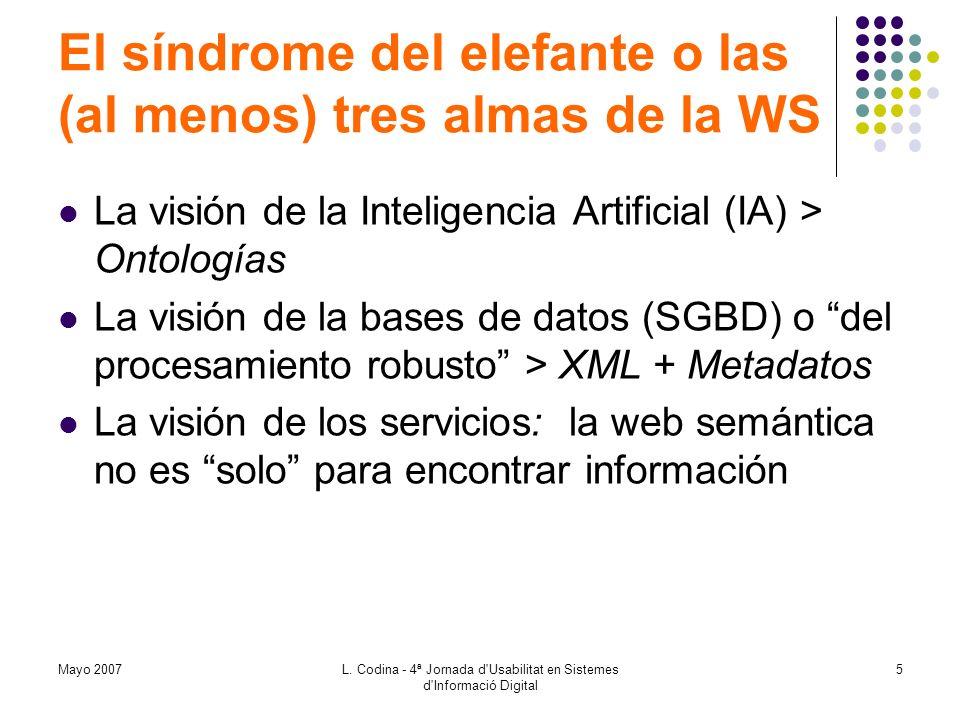 Mayo 2007L. Codina - 4ª Jornada d'Usabilitat en Sistemes d'Informació Digital 5 El síndrome del elefante o las (al menos) tres almas de la WS La visió