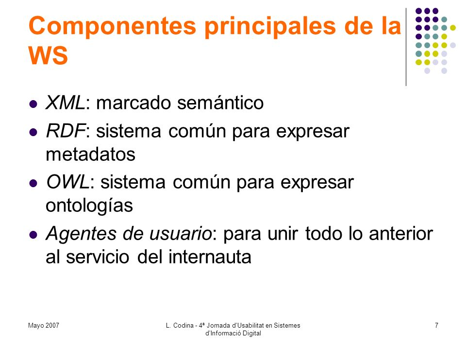 Mayo 2007L. Codina - 4ª Jornada d'Usabilitat en Sistemes d'Informació Digital 7 Componentes principales de la WS XML: marcado semántico RDF: sistema c