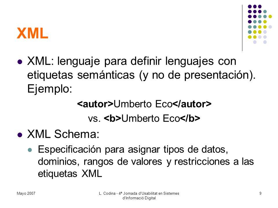 Mayo 2007L. Codina - 4ª Jornada d'Usabilitat en Sistemes d'Informació Digital 9 XML XML: lenguaje para definir lenguajes con etiquetas semánticas (y n