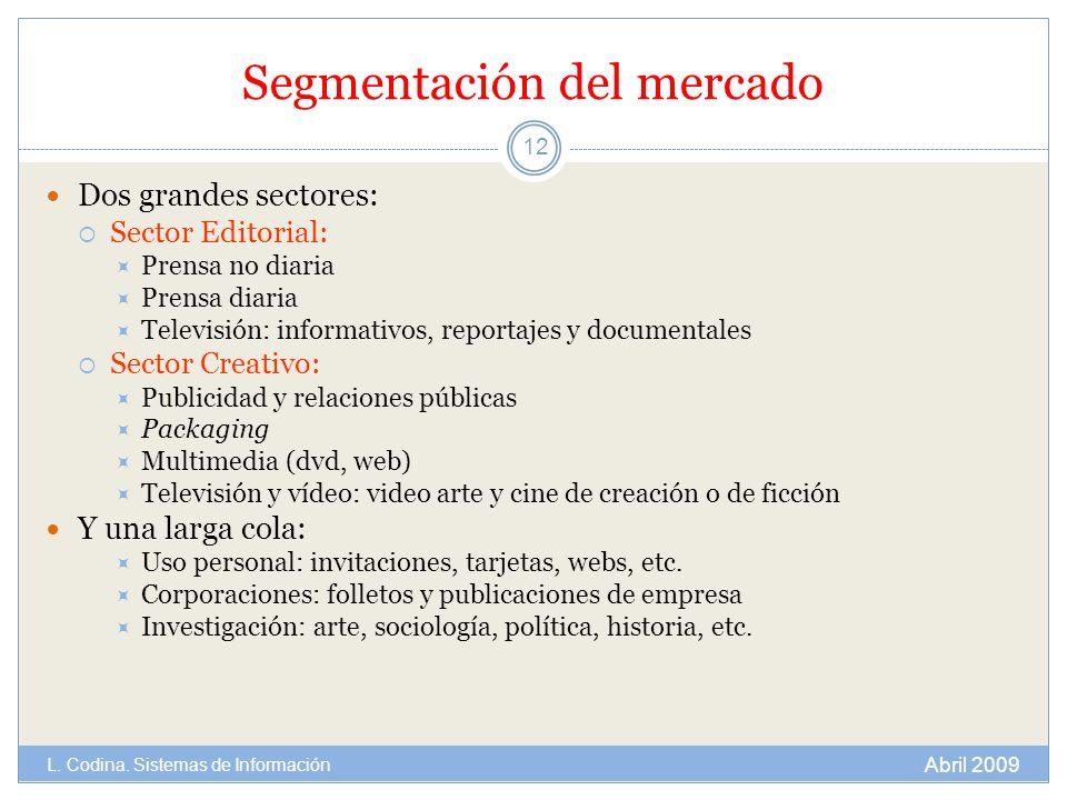 Segmentación del mercado Dos grandes sectores: Sector Editorial: Prensa no diaria Prensa diaria Televisión: informativos, reportajes y documentales Se