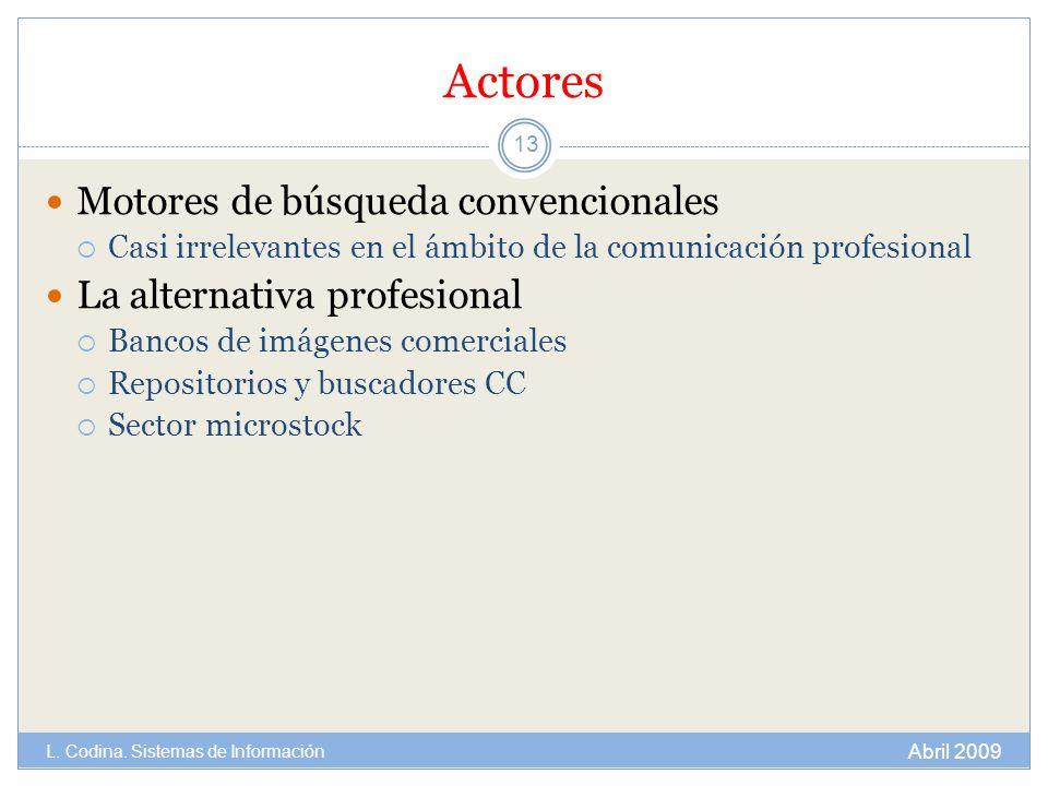 Actores Motores de búsqueda convencionales Casi irrelevantes en el ámbito de la comunicación profesional La alternativa profesional Bancos de imágenes