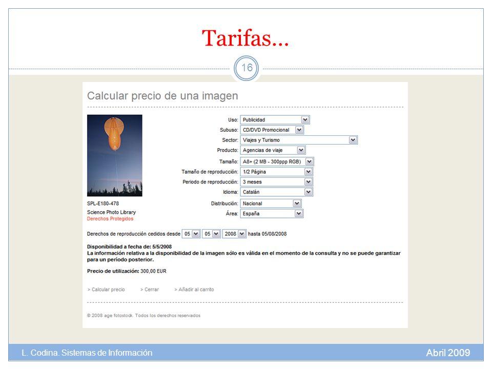 Tarifas… 16 Abril 2009 L. Codina. Sistemas de Información