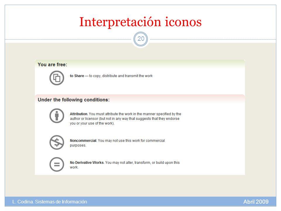Interpretación iconos 20 Abril 2009 L. Codina. Sistemas de Información