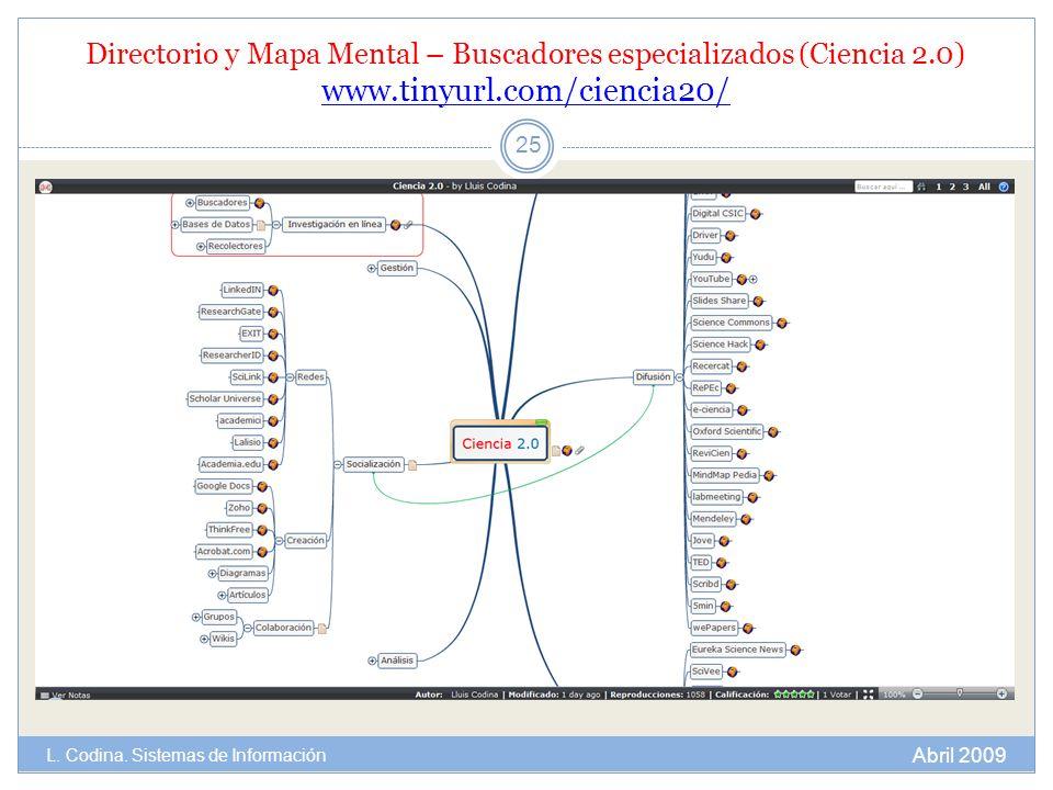 Directorio y Mapa Mental – Buscadores especializados (Ciencia 2.0) www.tinyurl.com/ciencia20/ www.tinyurl.com/ciencia20/ 25 Abril 2009 L. Codina. Sist