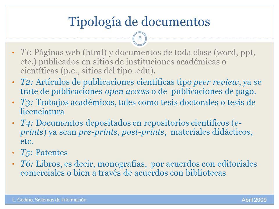 Tipología de documentos T1: Páginas web (html) y documentos de toda clase (word, ppt, etc.) publicados en sitios de instituciones académicas o científ