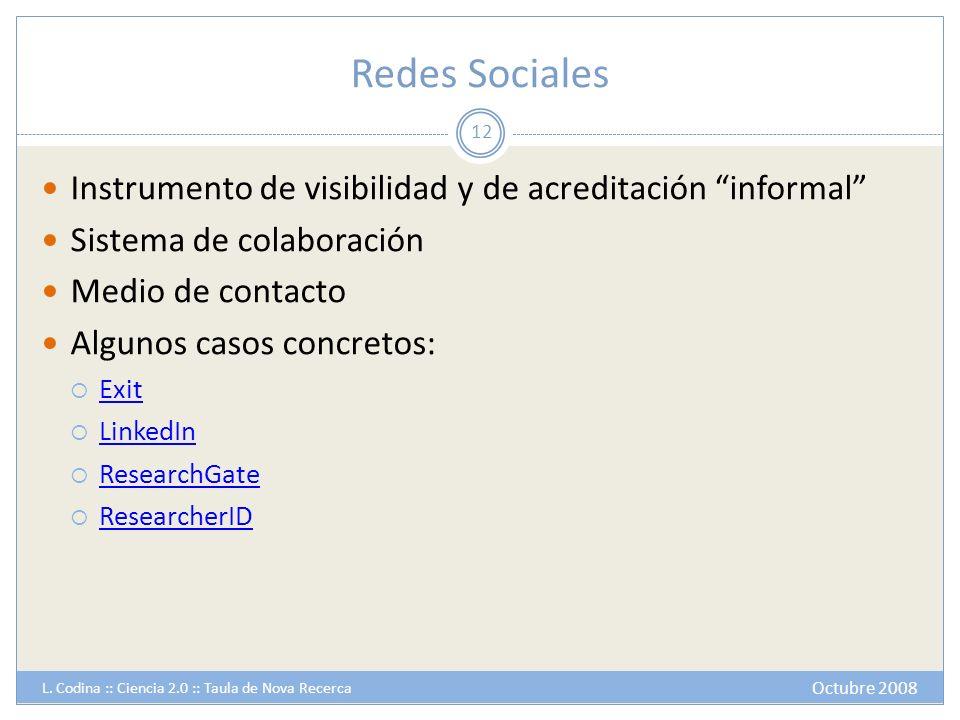 Redes Sociales Instrumento de visibilidad y de acreditación informal Sistema de colaboración Medio de contacto Algunos casos concretos: Exit LinkedIn