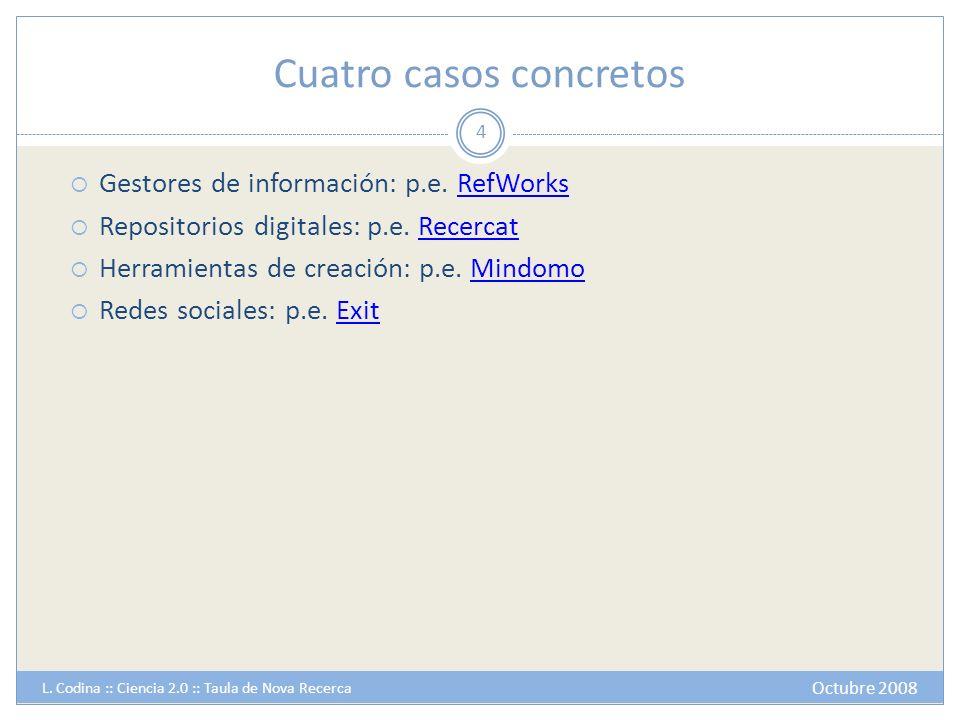 Cuatro casos concretos Gestores de información: p.e. RefWorksRefWorks Repositorios digitales: p.e. RecercatRecercat Herramientas de creación: p.e. Min