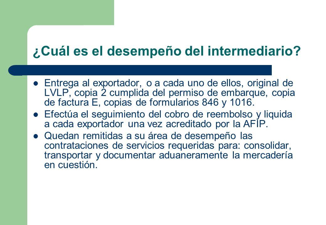 ¿Cuál es el desempeño del intermediario? Entrega al exportador, o a cada uno de ellos, original de LVLP, copia 2 cumplida del permiso de embarque, cop
