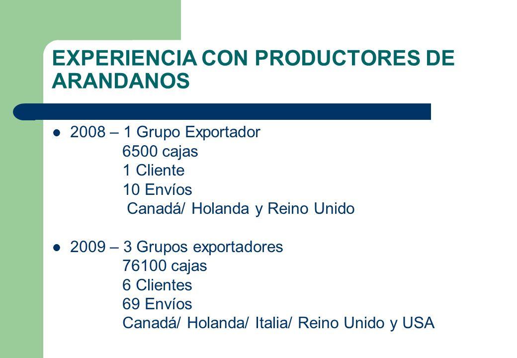 EXPERIENCIA CON PRODUCTORES DE ARANDANOS 2008 – 1 Grupo Exportador 6500 cajas 1 Cliente 10 Envíos Canadá/ Holanda y Reino Unido 2009 – 3 Grupos export