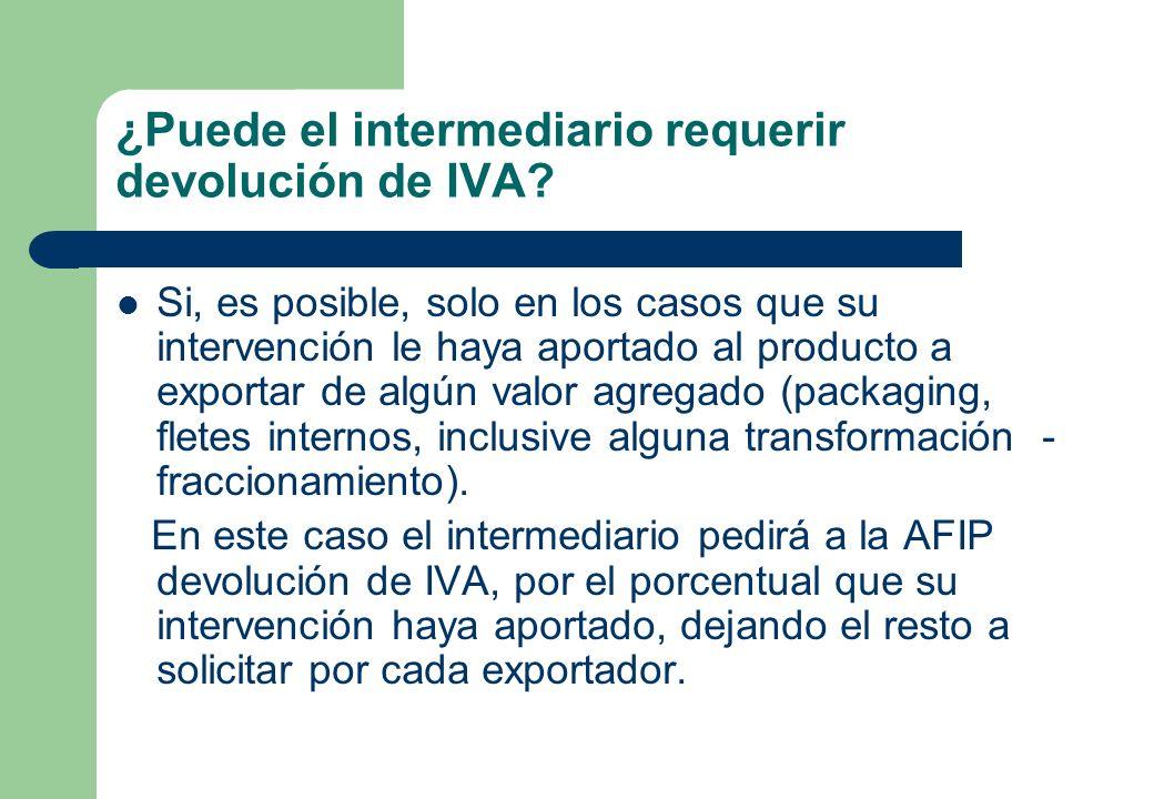 ¿Puede el intermediario requerir devolución de IVA? Si, es posible, solo en los casos que su intervención le haya aportado al producto a exportar de a