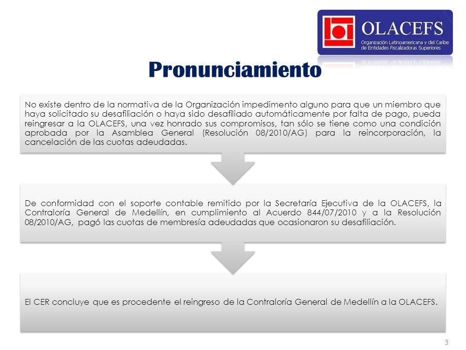 El CER concluye que es procedente el reingreso de la Contraloría General de Medellín a la OLACEFS. De conformidad con el soporte contable remitido por