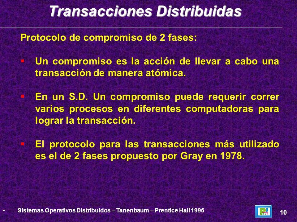 Protocolo de compromiso de 2 fases: Un compromiso es la acción de llevar a cabo una transacción de manera atómica. En un S.D. Un compromiso puede requ