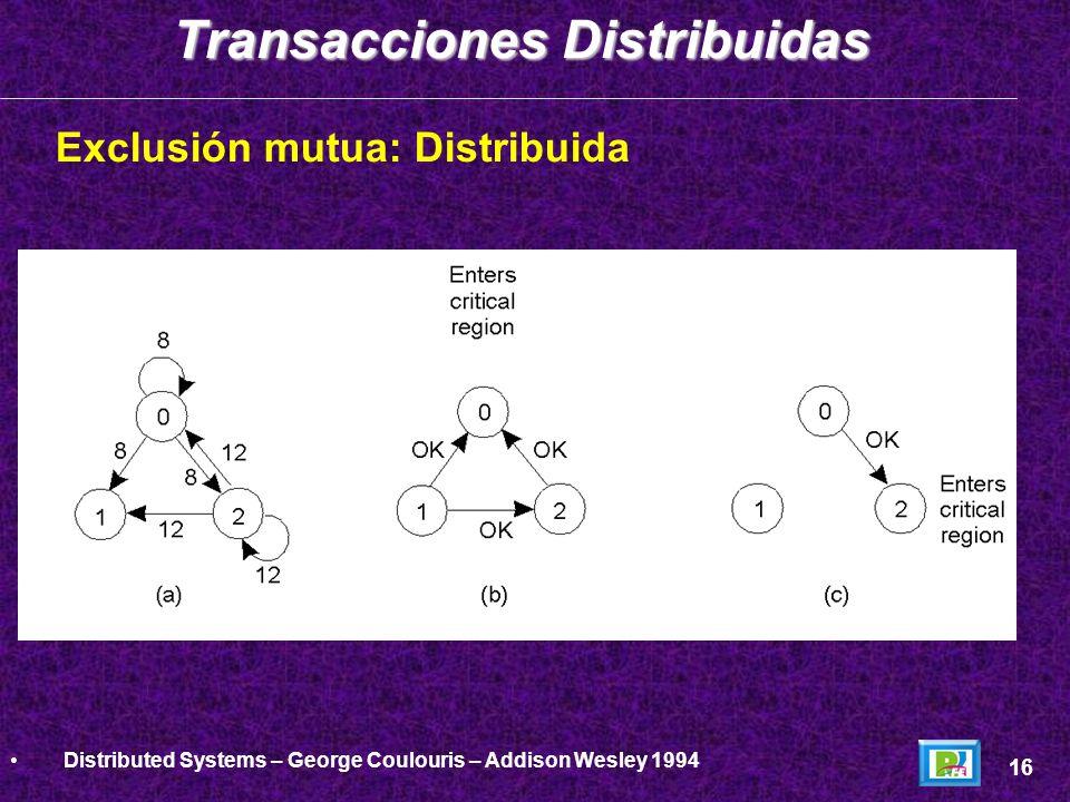 Exclusión mutua: Distribuida Transacciones Distribuidas 16 Distributed Systems – George Coulouris – Addison Wesley 1994