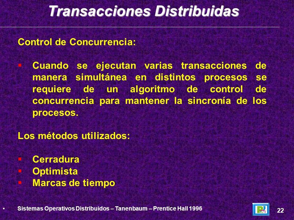 Control de Concurrencia: Cuando se ejecutan varias transacciones de manera simultánea en distintos procesos se requiere de un algoritmo de control de