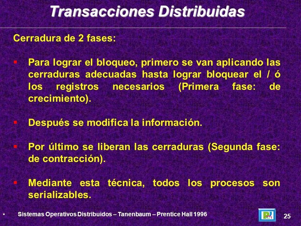 Bloqueo de 2 fases Transacciones Distribuidas 26 Distributed Systems - Tanenbaum