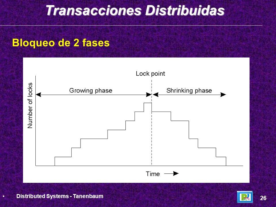 Bloqueo de 2 fases Transacciones Distribuidas 27 Distributed Systems - Tanenbaum