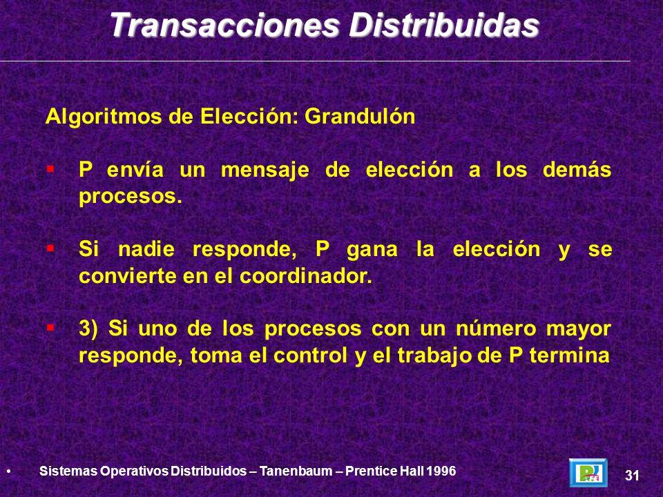 Algoritmos de Elección: Grandulón P envía un mensaje de elección a los demás procesos. Si nadie responde, P gana la elección y se convierte en el coor