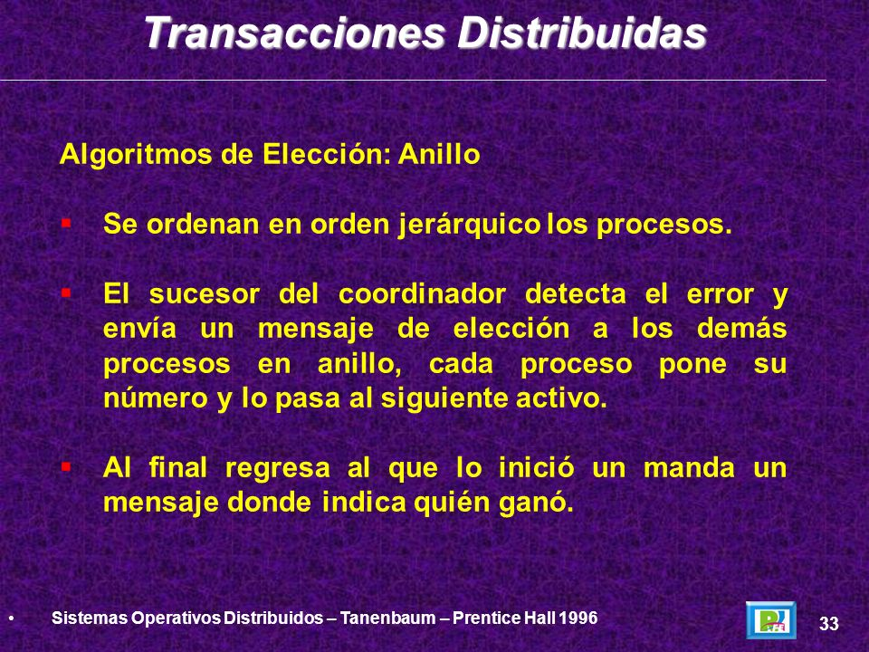 Algoritmos de Elección: Anillo Se ordenan en orden jerárquico los procesos. El sucesor del coordinador detecta el error y envía un mensaje de elección