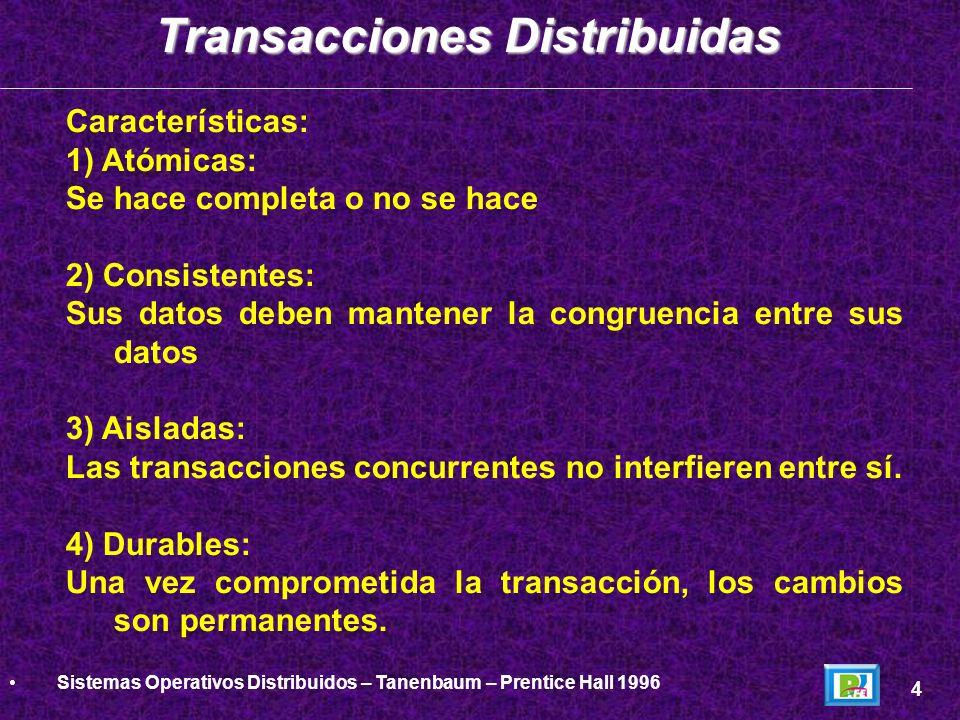 Primitivas de Transacción: 1)BEGIN_TRANSACTION (inicio de transacción) 1)END_TRANSACTION (fin de transacción) 1)ABORT_TRANSACTION (deshacer operación) 1)READ (leer datos de un archivo u objeto) 1)WRITE (escribir datos a un archivo u objeto) Transacciones Distribuidas 5 Sistemas Operativos Distribuidos – Tanenbaum – Prentice Hall 1996