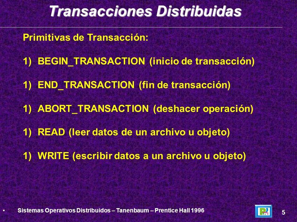 Primitivas de Transacción: 1)BEGIN_TRANSACTION (inicio de transacción) 1)END_TRANSACTION (fin de transacción) 1)ABORT_TRANSACTION (deshacer operación)