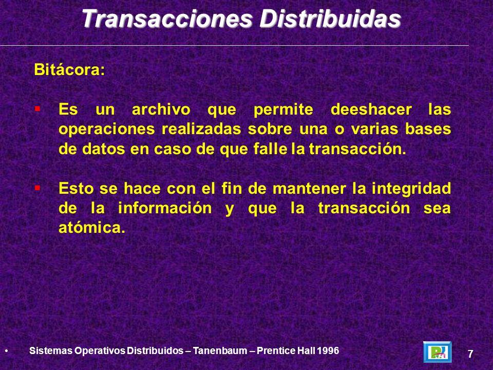 Bitácora: Es un archivo que permite deeshacer las operaciones realizadas sobre una o varias bases de datos en caso de que falle la transacción. Esto s