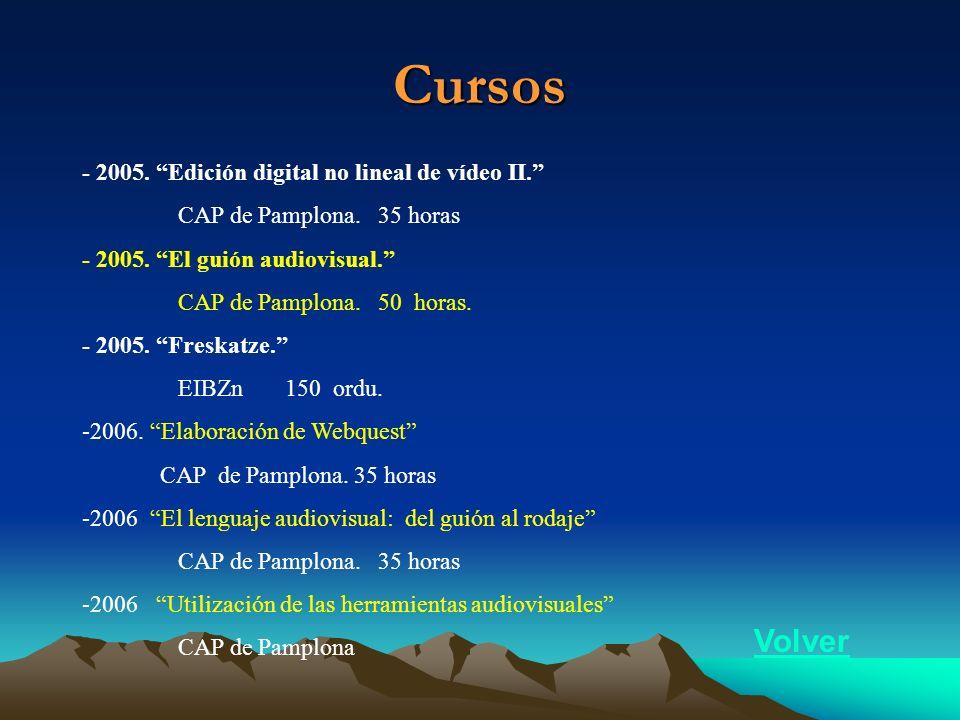 Cursos - 2005. Edición digital no lineal de vídeo II. CAP de Pamplona. 35 horas - 2005. El guión audiovisual. CAP de Pamplona. 50 horas. - 2005. Fresk