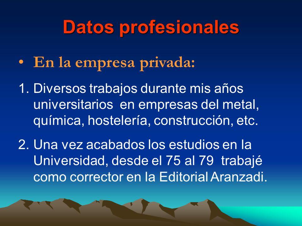 Datos profesionales En la empresa privada: 1.Diversos trabajos durante mis años universitarios en empresas del metal, química, hostelería, construcció