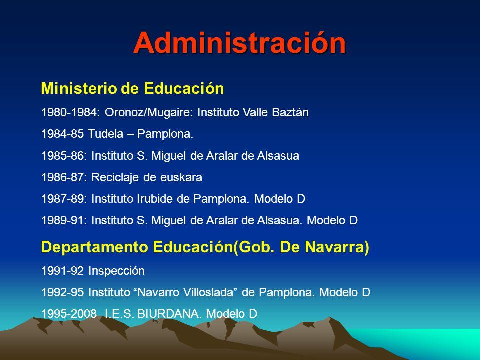 Administración Ministerio de Educación 1980-1984: Oronoz/Mugaire: Instituto Valle Baztán 1984-85 Tudela – Pamplona. 1985-86: Instituto S. Miguel de Ar