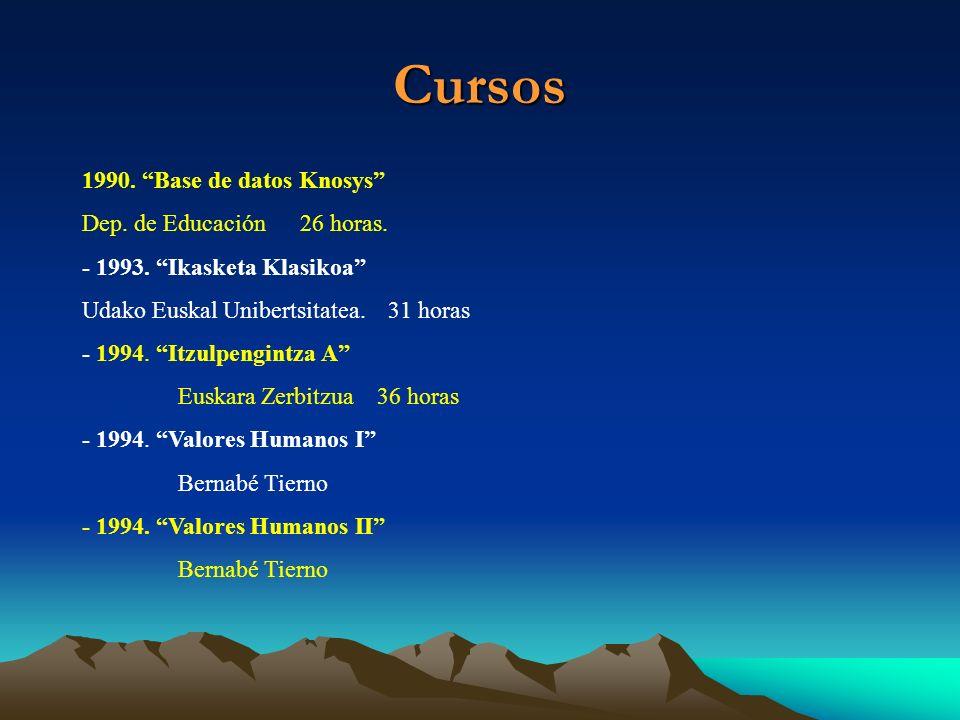 Cursos 1990. Base de datos Knosys Dep. de Educación 26 horas. - 1993. Ikasketa Klasikoa Udako Euskal Unibertsitatea. 31 horas - 1994. Itzulpengintza A