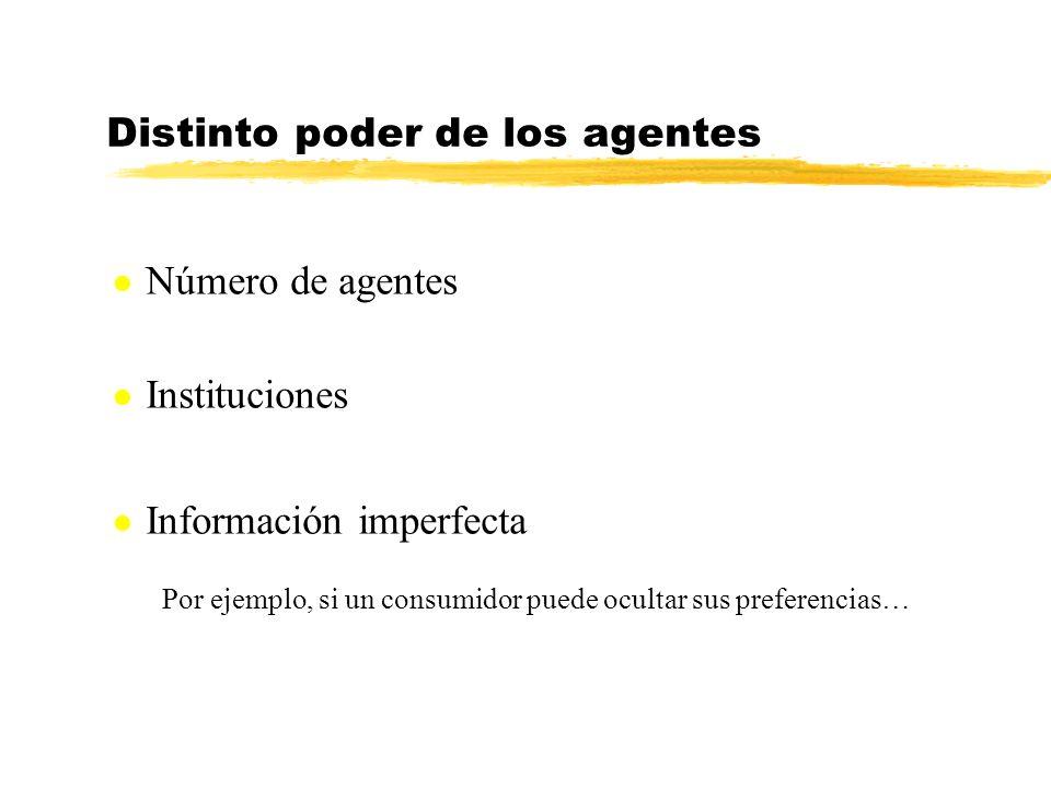Distinto poder de los agentes Por ejemplo, si un consumidor puede ocultar sus preferencias… l Número de agentes l Instituciones l Información imperfec