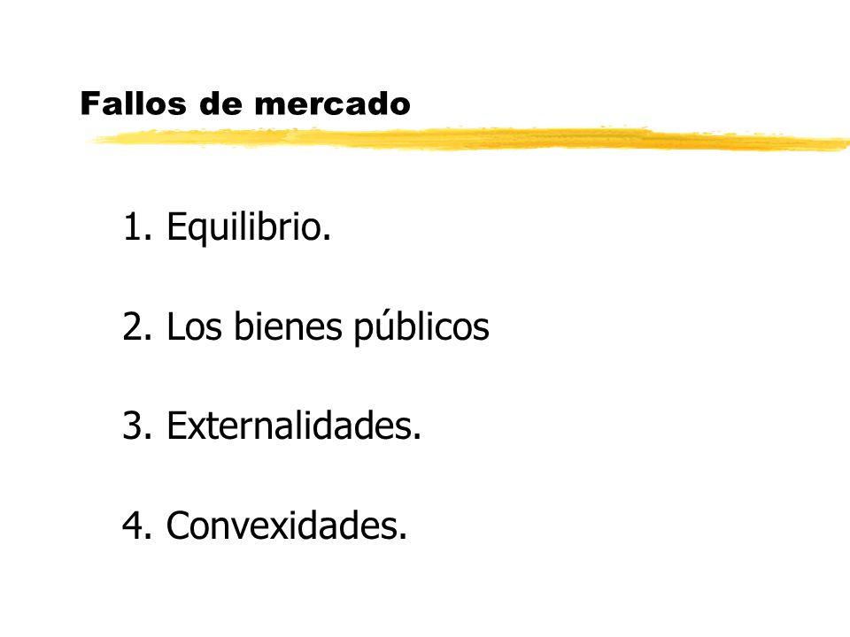Fallos de mercado 1. Equilibrio. 2. Los bienes públicos 3. Externalidades. 4. Convexidades.