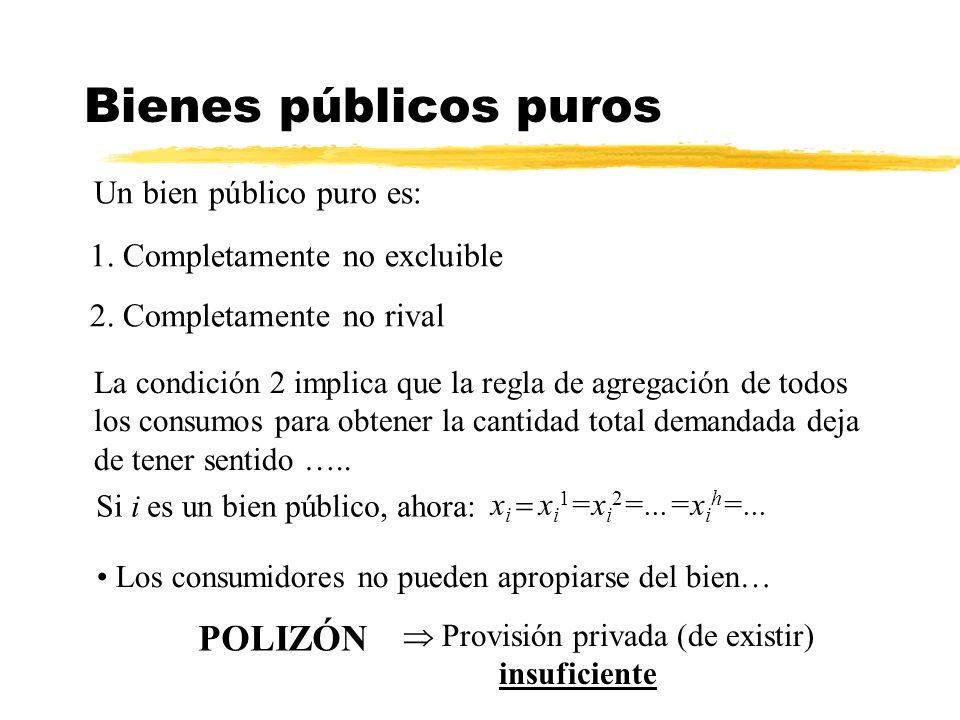 Un bien público puro es: 1. Completamente no excluible 2. Completamente no rival Bienes públicos puros La condición 2 implica que la regla de agregaci