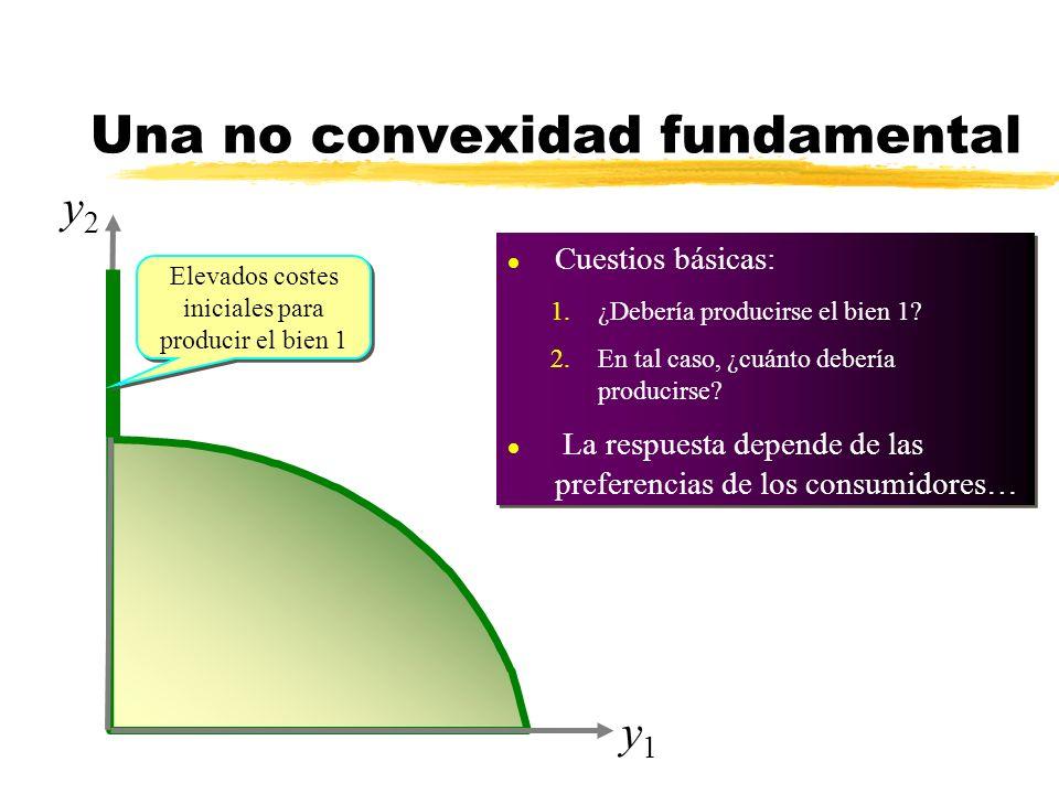 y1y1 Elevados costes iniciales para producir el bien 1 l Cuestios básicas: 1.¿Debería producirse el bien 1? 2.En tal caso, ¿cuánto debería producirse?