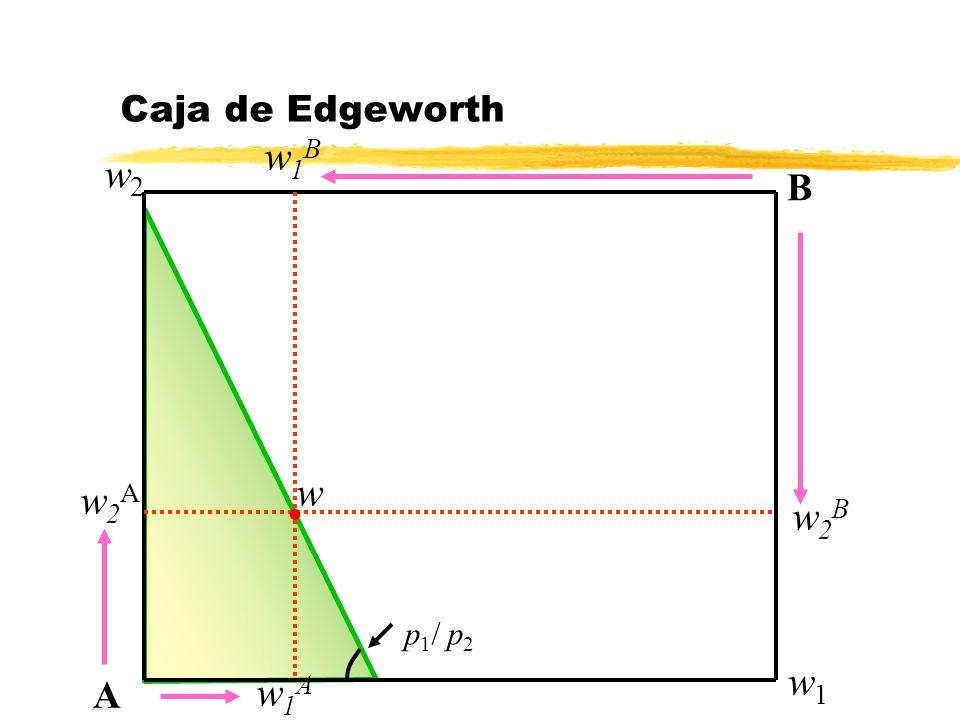 w2Aw2A Caja de Edgeworth A B l w w2Bw2B w1Bw1B w1Aw1A w2w2 w1w1 p 1 / p 2
